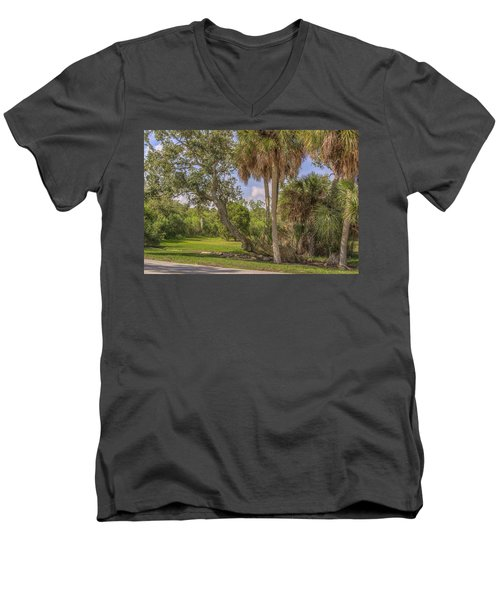 Men's V-Neck T-Shirt featuring the photograph Oak Trees by Jane Luxton