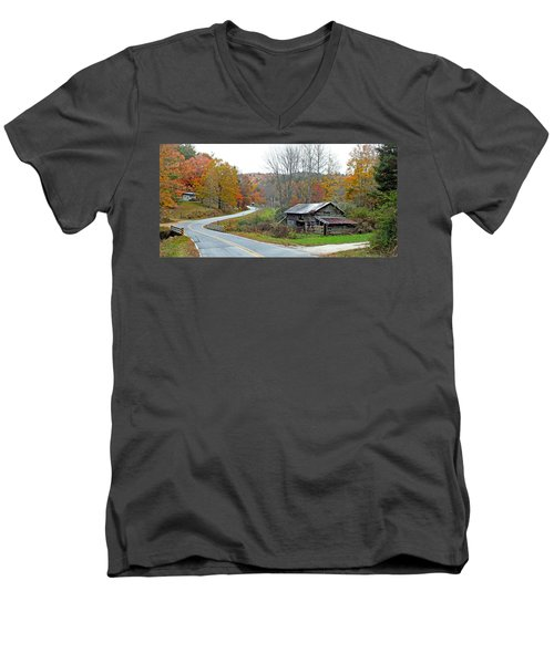 Old Barn Along Slick Fisher Road Men's V-Neck T-Shirt