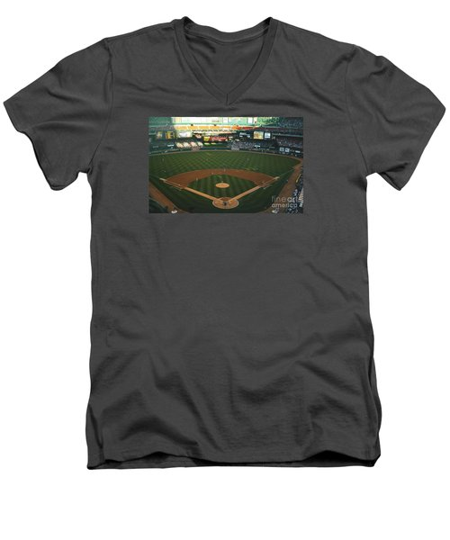 Men's V-Neck T-Shirt featuring the photograph Old Busch Field by Kelly Awad
