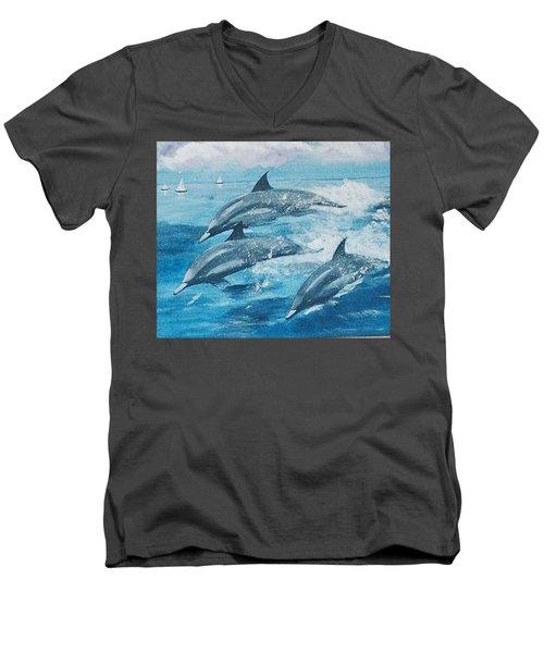 On The Move Men's V-Neck T-Shirt by Catherine Swerediuk