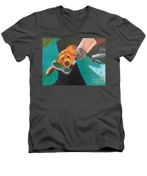 Men's V-Neck T-Shirt featuring the painting One Team Two Heroes - 1 by Donald J Ryker III