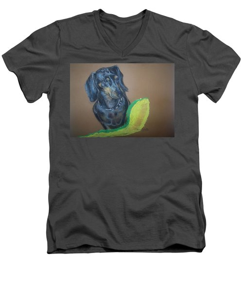 Men's V-Neck T-Shirt featuring the pastel Ozzie Dashound by Peter Suhocke