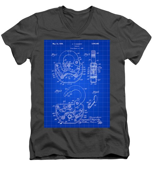 Padlock Patent 1935 - Blue Men's V-Neck T-Shirt