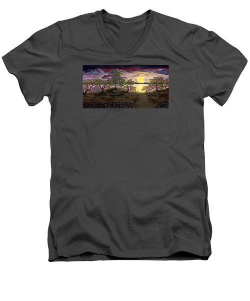Men's V-Neck T-Shirt featuring the painting Peaceful Sunset by Rebecca Parker