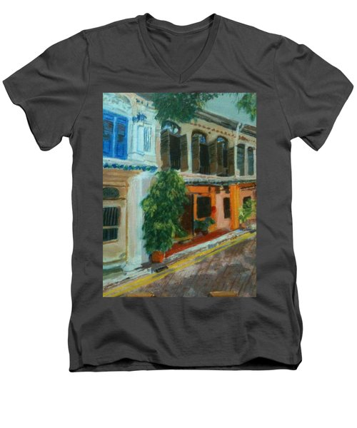 Men's V-Neck T-Shirt featuring the painting Peranakan House by Belinda Low