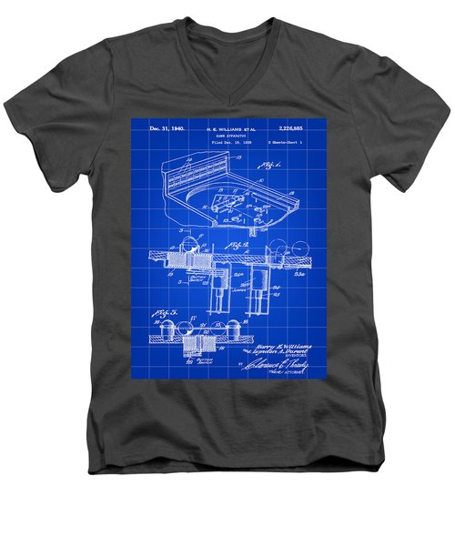 Pinball Machine Patent 1939 - Blue Men's V-Neck T-Shirt by Stephen Younts