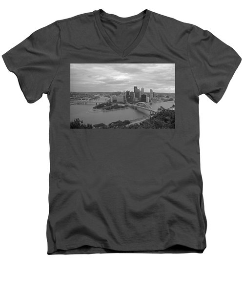 Pittsburgh - View Of The Three Rivers Men's V-Neck T-Shirt by Frank Romeo