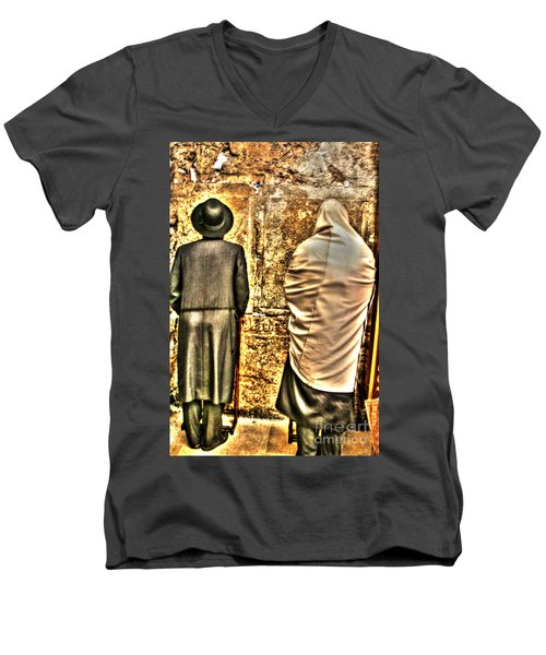 Men's V-Neck T-Shirt featuring the photograph Praying At The Western Wall by Doc Braham