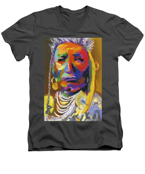 Proud Native American II Men's V-Neck T-Shirt by Stephen Anderson