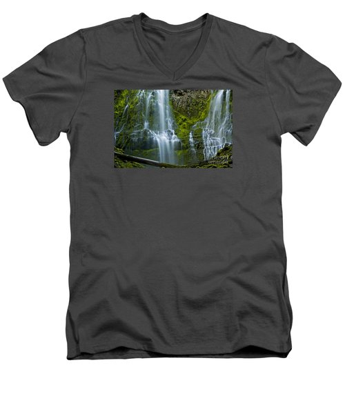 Proxy Falls Men's V-Neck T-Shirt by Nick  Boren