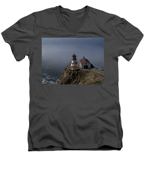 Pt Reyes Lighthouse Men's V-Neck T-Shirt by Bill Gallagher