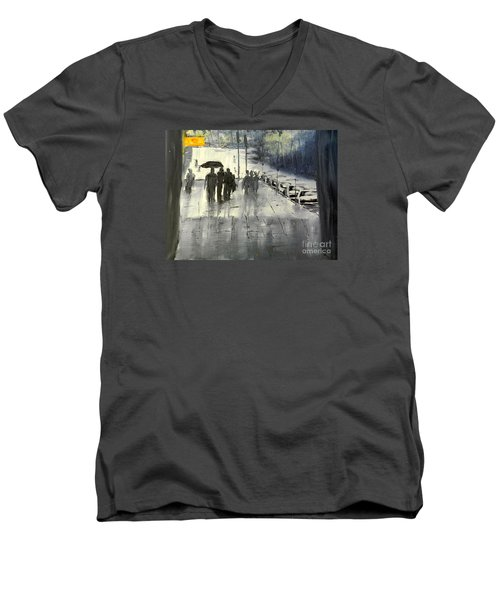 Rainy City Street Men's V-Neck T-Shirt by Pamela  Meredith