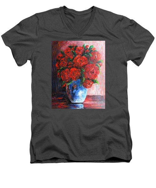 Men's V-Neck T-Shirt featuring the painting Red Scent by Vesna Martinjak