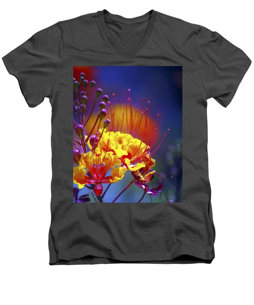 Red Yellow Blossoms 10197 Men's V-Neck T-Shirt by Jerry Sodorff