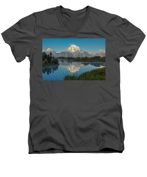 Reflections Of Mount Moran Men's V-Neck T-Shirt