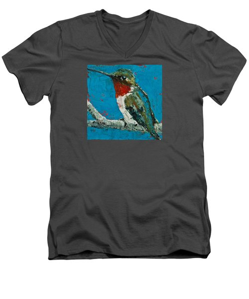 Men's V-Neck T-Shirt featuring the painting Ruby-throated Hummingbird by Jani Freimann