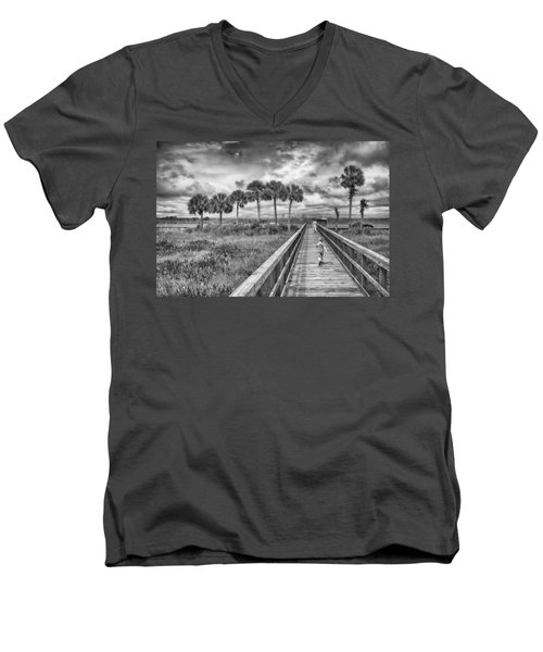 Men's V-Neck T-Shirt featuring the photograph Running by Howard Salmon