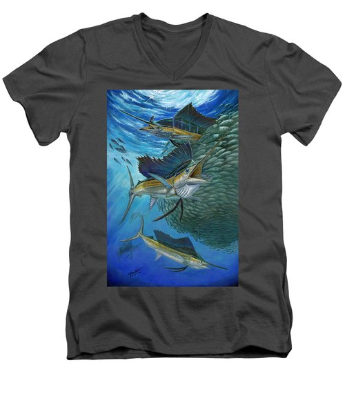 Sailfish With A Ball Of Bait Men's V-Neck T-Shirt