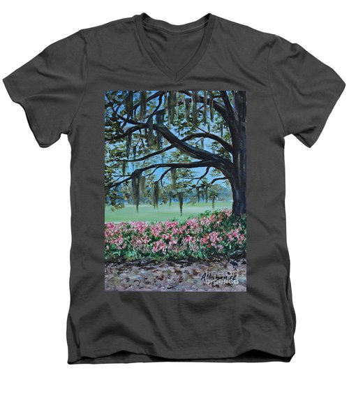 Savannah Spring Men's V-Neck T-Shirt by Stanton Allaben
