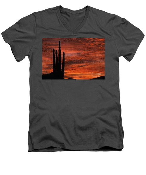 Silhouetted Saguaro Cactus Sunset At Dusk With Dramatic Clouds Men's V-Neck T-Shirt