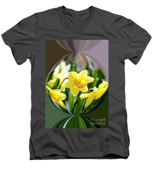 Spring Daffodils   Men's V-Neck T-Shirt by Tina  LeCour