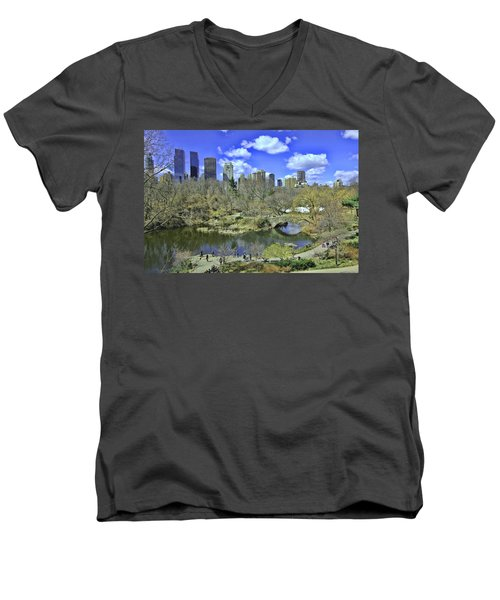 Springtime In Central Park Men's V-Neck T-Shirt by Allen Beatty