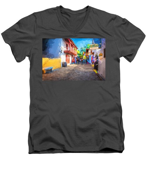 St George Street St Augustine Florida Painted Men's V-Neck T-Shirt