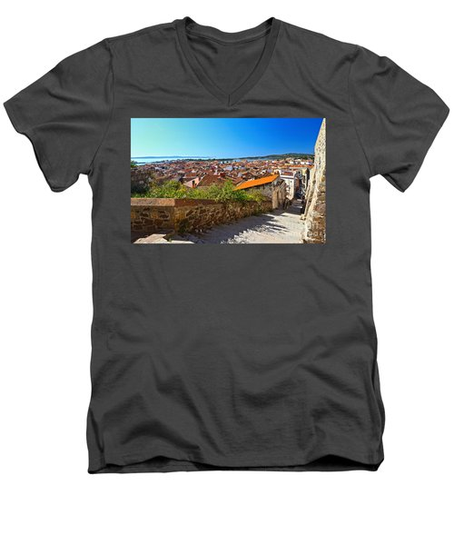 stairway and ancient walls in Carloforte Men's V-Neck T-Shirt by Antonio Scarpi
