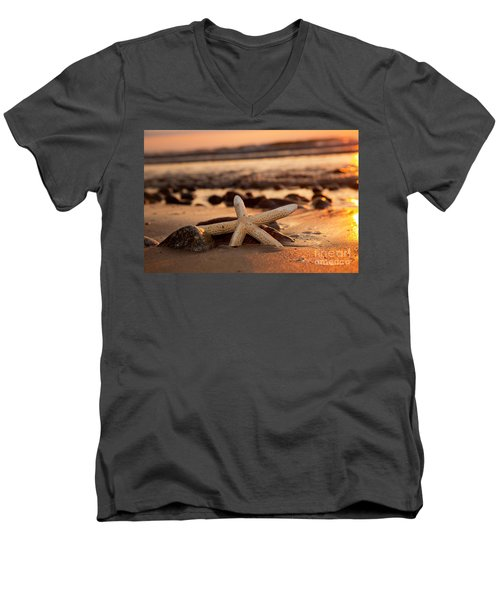 Starfish On The Beach At Sunset Men's V-Neck T-Shirt by Michal Bednarek