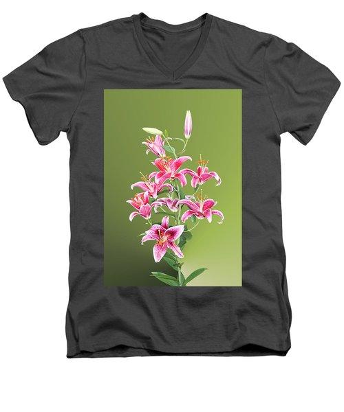 Stargazer Lilies Men's V-Neck T-Shirt by Kristin Elmquist