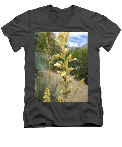 Men's V-Neck T-Shirt featuring the photograph 1 String Flowers    Photographed Las Vegas May 2014 by Navin Joshi