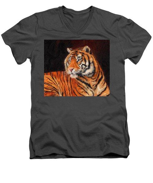 Sumatran Tiger  Men's V-Neck T-Shirt by David Stribbling
