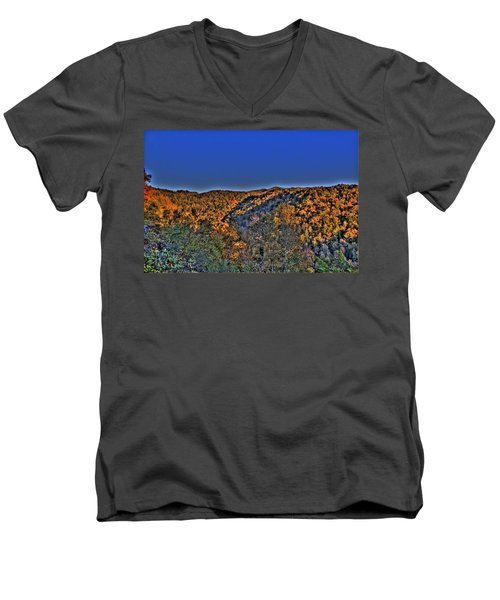 Men's V-Neck T-Shirt featuring the photograph Sun On The Hills by Jonny D