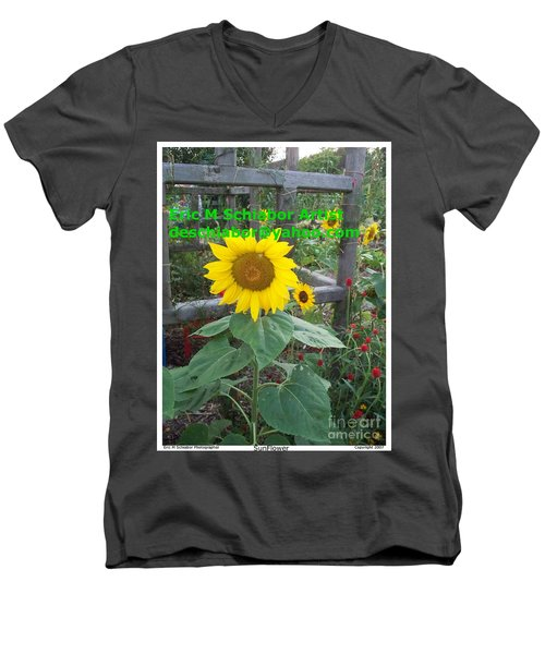 Sunflower Men's V-Neck T-Shirt by Eric  Schiabor