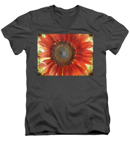 Sunflower Men's V-Neck T-Shirt by Kathy Bassett