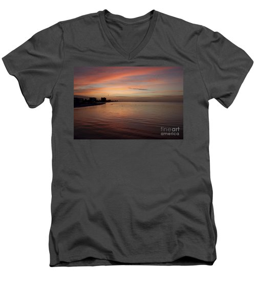 Men's V-Neck T-Shirt featuring the photograph Sunrise Over Fort Myers Beach Photo by Meg Rousher