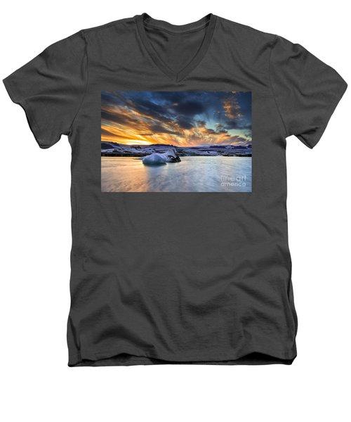 sunset at Jokulsarlon iceland Men's V-Neck T-Shirt