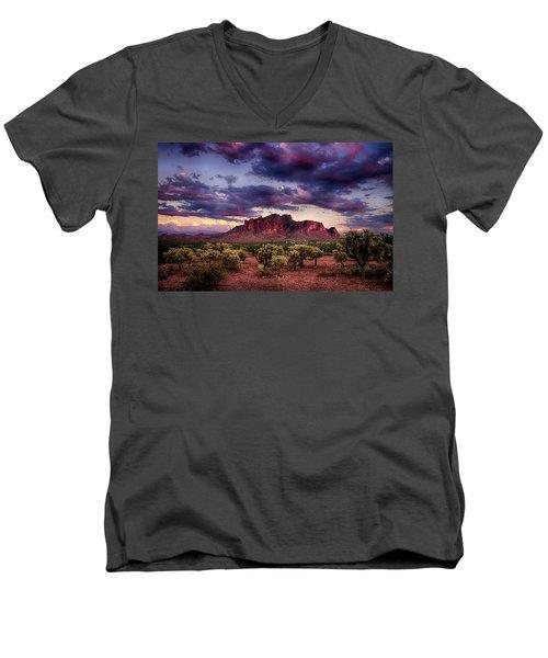 Sunset At The Superstitions  Men's V-Neck T-Shirt by Saija  Lehtonen