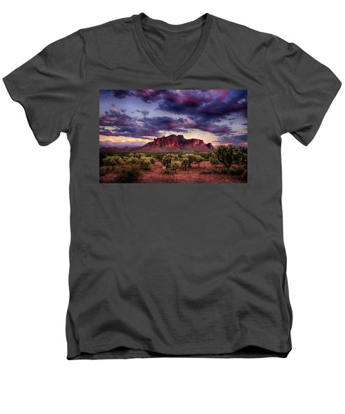 Sunset At The Superstitions  Men's V-Neck T-Shirt