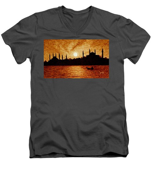 Men's V-Neck T-Shirt featuring the painting Sunset Over Istanbul Original Coffee Painting by Georgeta  Blanaru