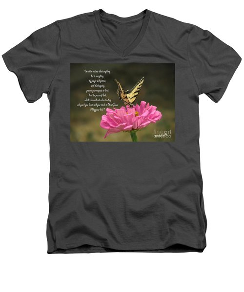 Swallowtail On A Zinnia Men's V-Neck T-Shirt