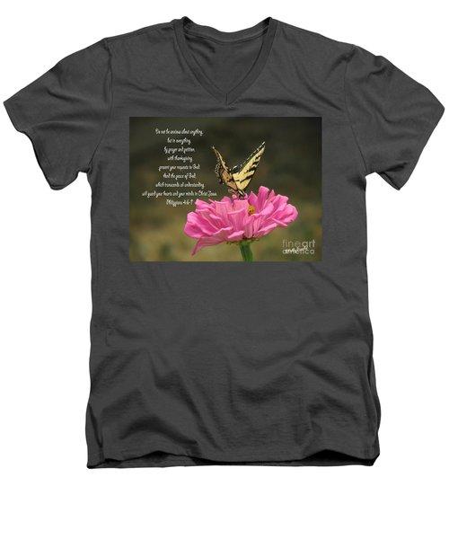 Swallowtail On A Zinnia Men's V-Neck T-Shirt
