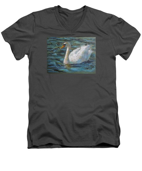 Men's V-Neck T-Shirt featuring the painting Swan by Jieming Wang