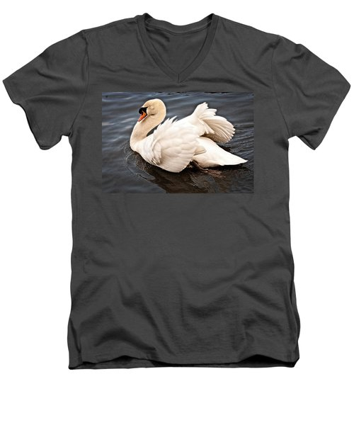 Men's V-Neck T-Shirt featuring the photograph Swan One by Elf Evans