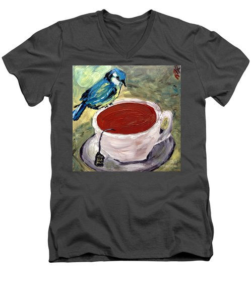 Men's V-Neck T-Shirt featuring the painting Tea Time  by Reina Resto