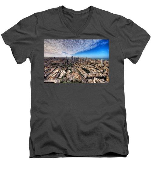 Tel Aviv Skyline Men's V-Neck T-Shirt by Ron Shoshani