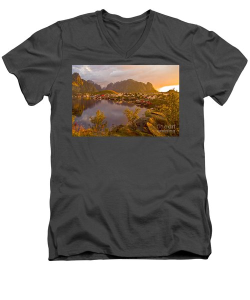 The Day Begins In Reine Men's V-Neck T-Shirt by Heiko Koehrer-Wagner