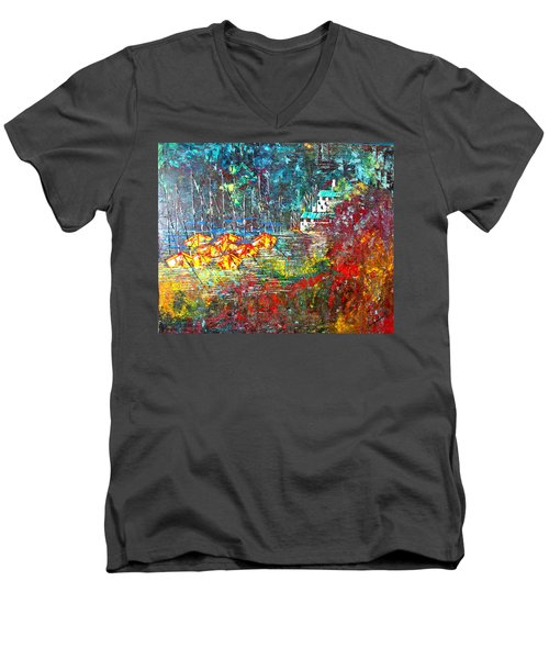Beach House Men's V-Neck T-Shirt by George Riney