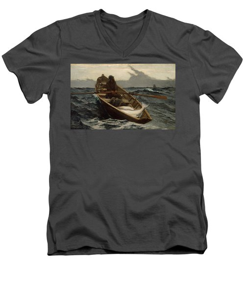 Men's V-Neck T-Shirt featuring the photograph The Fog Warning by Winslow Homer