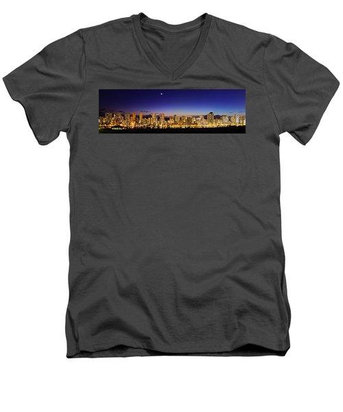 The Moon And Venus Over Honolulu Men's V-Neck T-Shirt